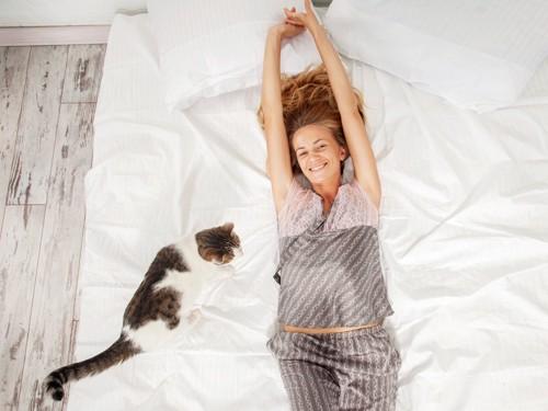 ベッドの上の女性と猫