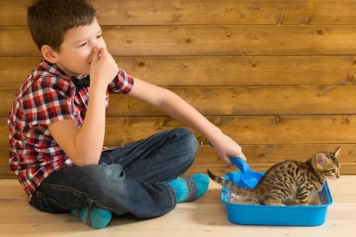 鼻をつまむ少年とトイレのなかの猫