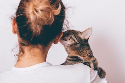 飼い主に抱かれて耳元で囁く猫