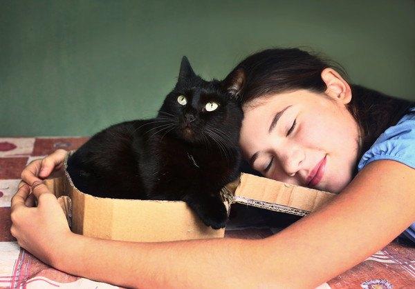 抱き締められる黒猫
