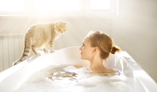 バスタブに浸かった女性と見守る猫
