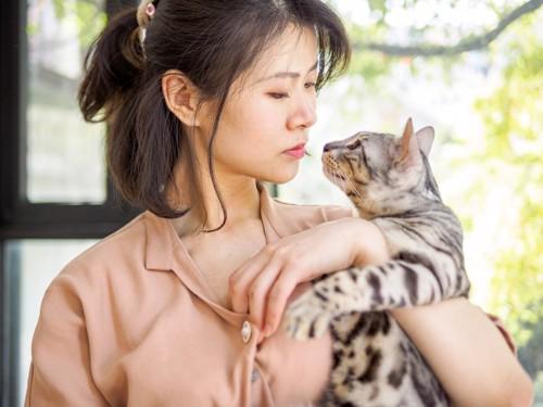 猫の匂いを嗅ぐ人