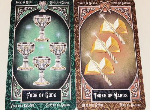 FOUR OF CUPS/THREE OF WANDS