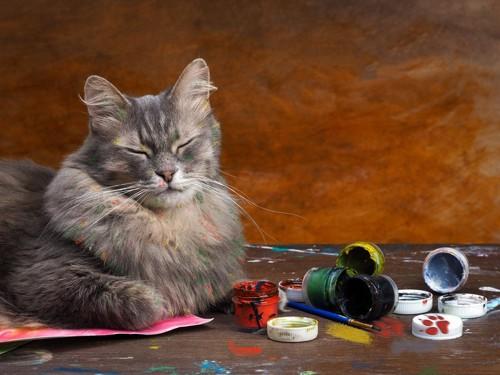絵具を散らかす猫