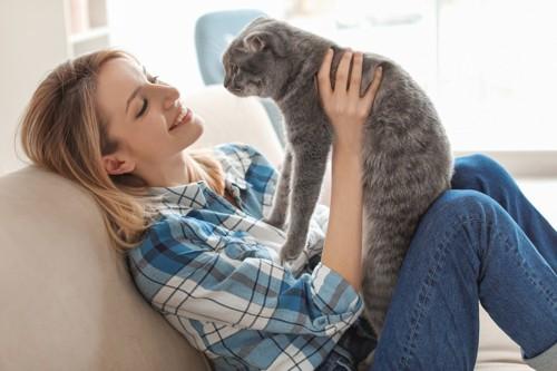 猫を見つめる飼い主