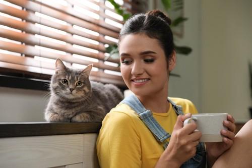 コーヒーを持つ女性と猫