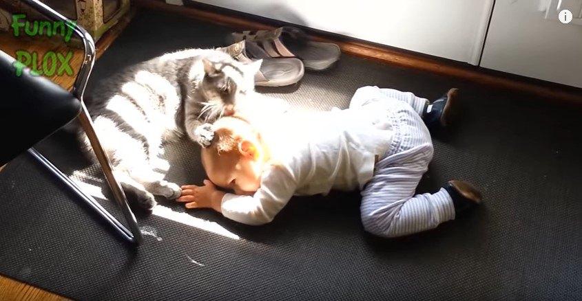 床にはいつくばる赤ちゃん