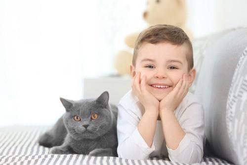 ソファーでくつろぐ男の子と猫