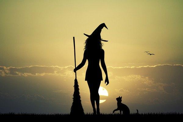 ほうきを持って魔女の帽子をかぶった女性と猫のシルエット