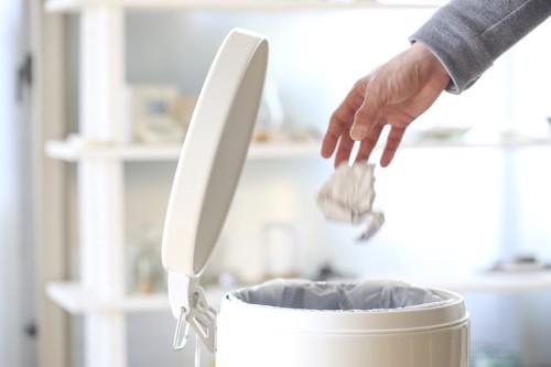 蓋つきのゴミ箱にゴミを捨てる人の手
