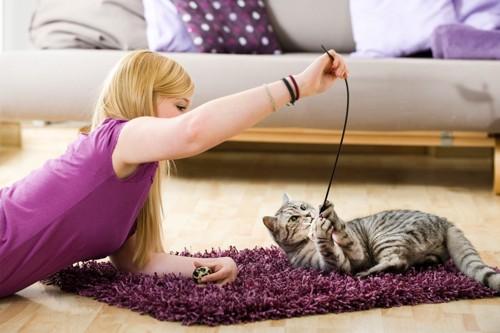 女性と遊んでいる猫