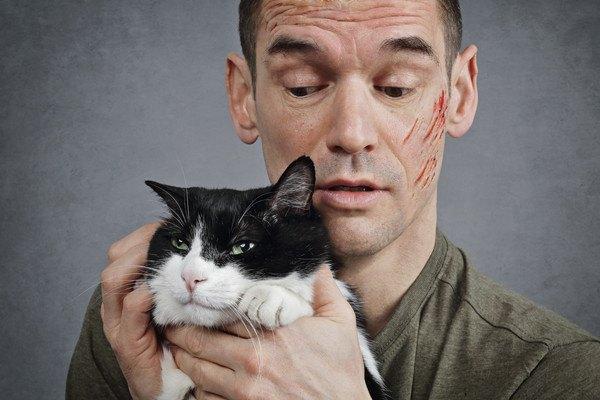猫の引っかき傷がある男性と猫