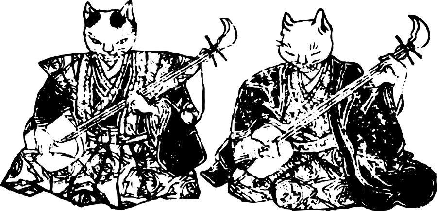昔風の猫のイラスト