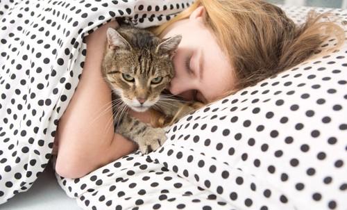 一緒に寝たくなさそうな猫