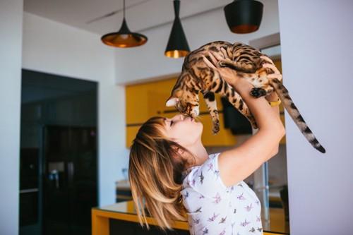 ベンガル猫を抱き上げてキスをする女の子