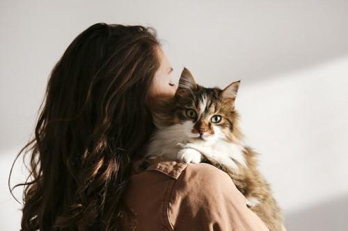 髪の長い女性に抱っこされる猫