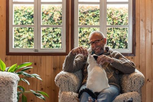 男性と膝の上の白黒猫