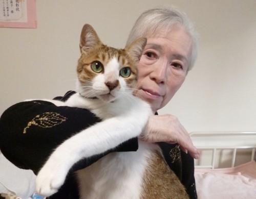 飼い主のA様に抱かれた猫の祐介くん