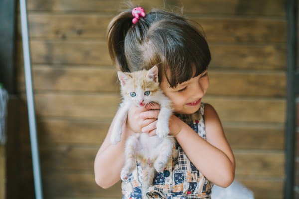 子猫を抱っこする女の子