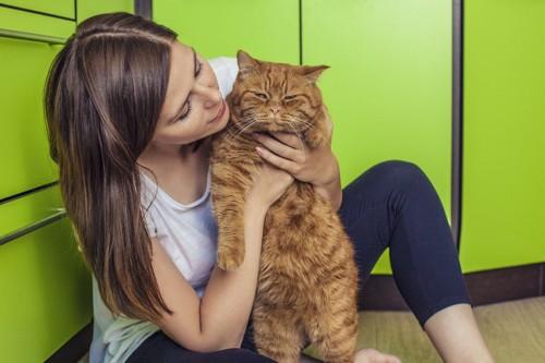 大きい猫と女性