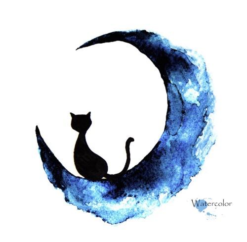 三日月の上に座る黒猫の絵