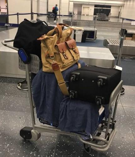 タオルの掛かったケージと手荷物
