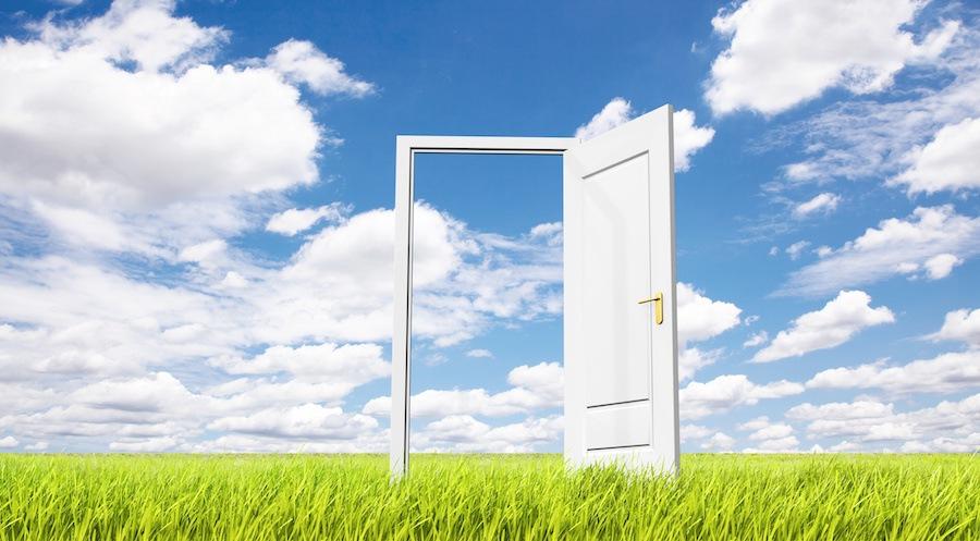 青空と草原にあるドア