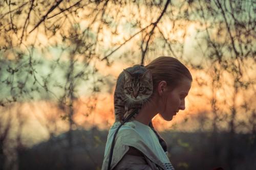 猫を肩に乗せ散歩する女性