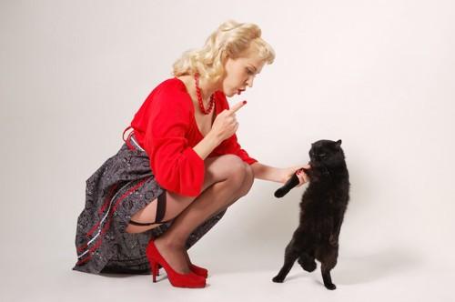 猫の手を掴んで叱っている女性