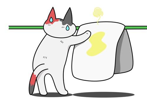 布団を干す猫