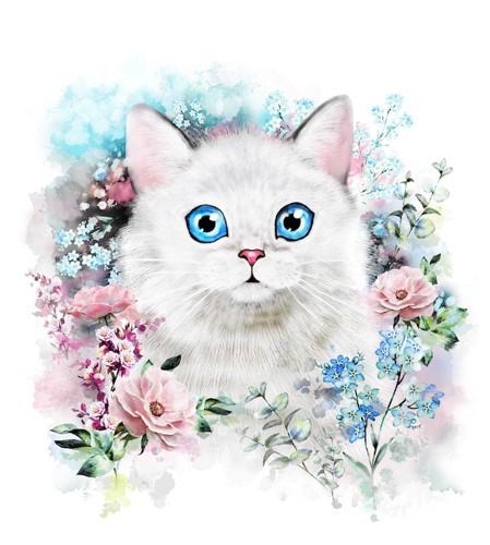 花に囲まれた青い瞳の白猫のモチーフ