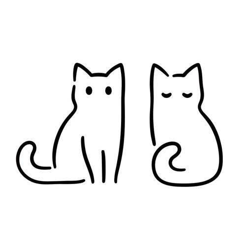 猫が二匹並んでいるマーク