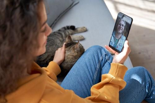 スマホを見ながら猫を撫でる人
