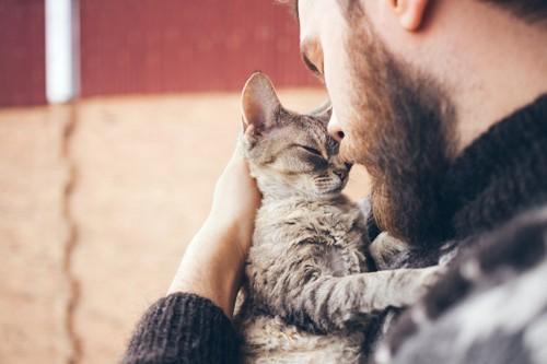 男性に顔を寄せる猫