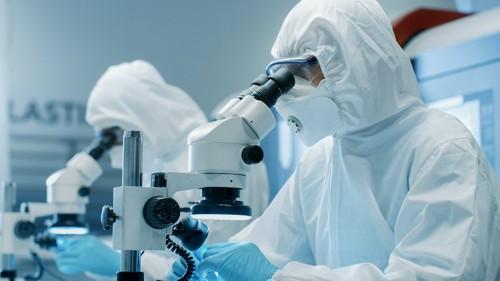 顕微鏡を見る科学者