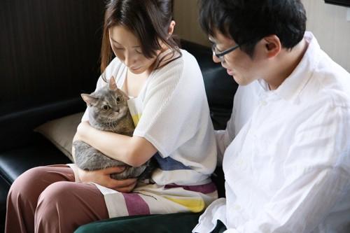 女性に抱っこされる猫と隣にいる男性