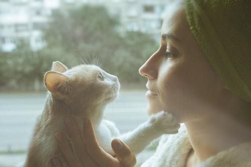 猫と会話する女性
