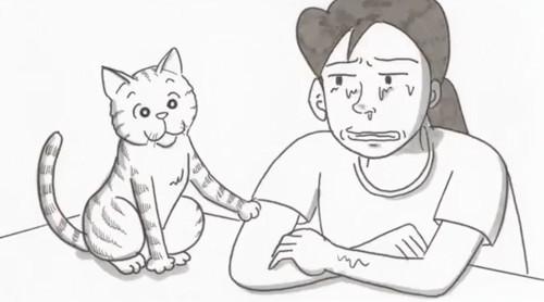 飼い主を励ます猫