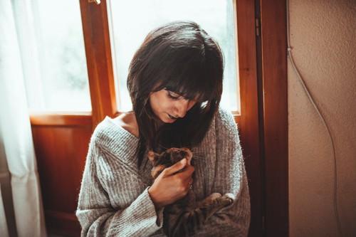 女性に抱かれて撫でられている猫