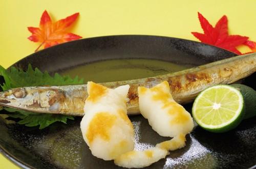 焼き魚と大根おろしで作った猫