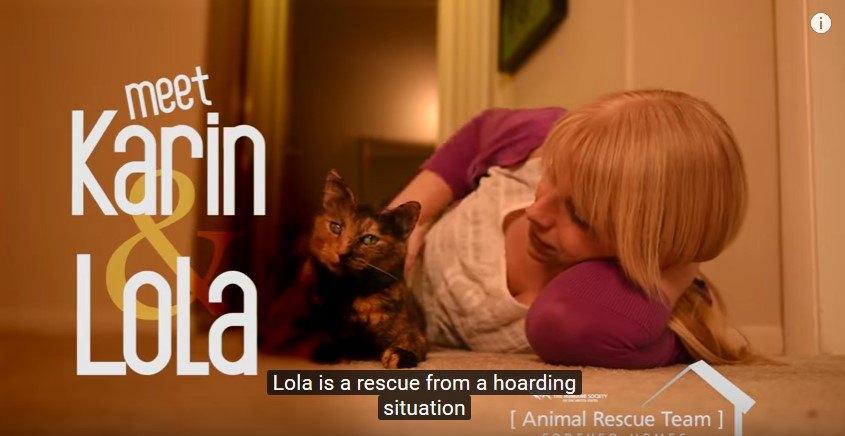 床に寝転ぶ人と猫