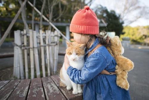 猫をそっと抱きしめる女の子