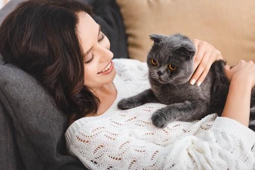 横になった女性の胸の上に乗っている猫