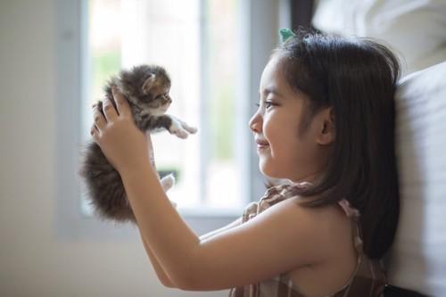 子猫を抱き上げる女の子