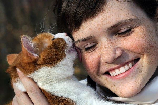 茶色と白猫に舐められる女性