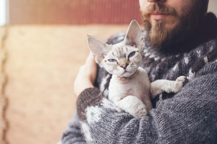 髭が生えた男性に抱かれた猫