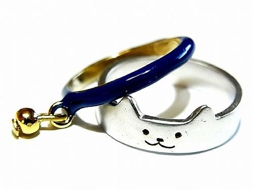 猫型指輪と首輪デザインの指輪