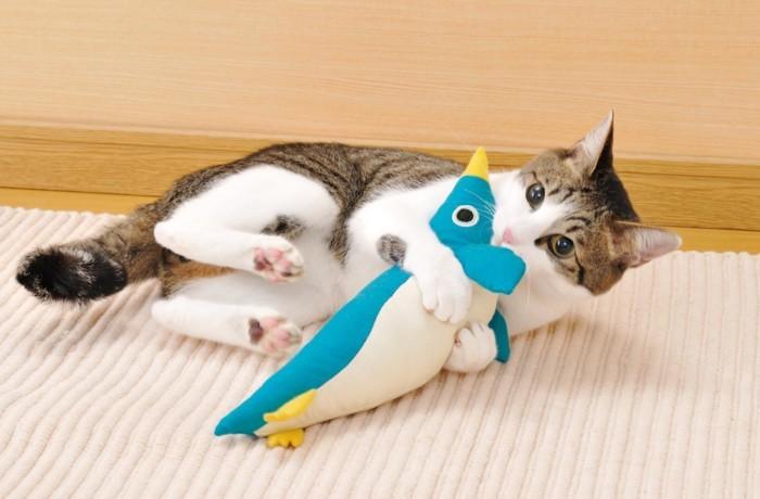 ペンギンのけりぐるみを抱えている猫