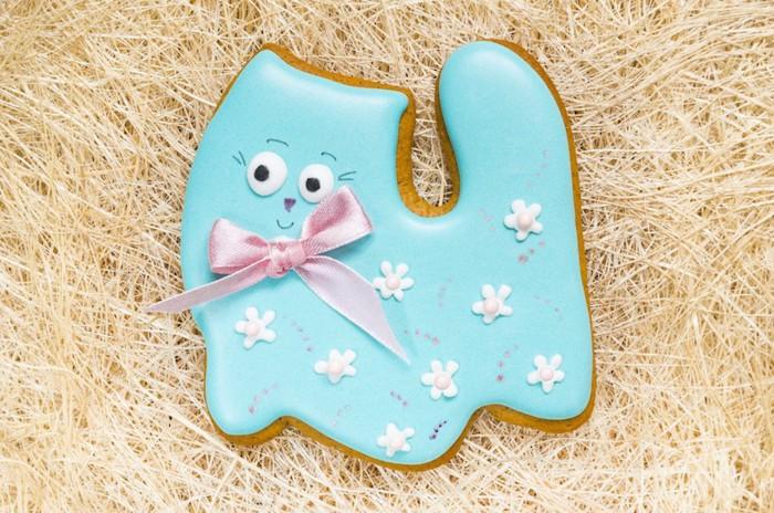 水色猫のアイシングクッキー