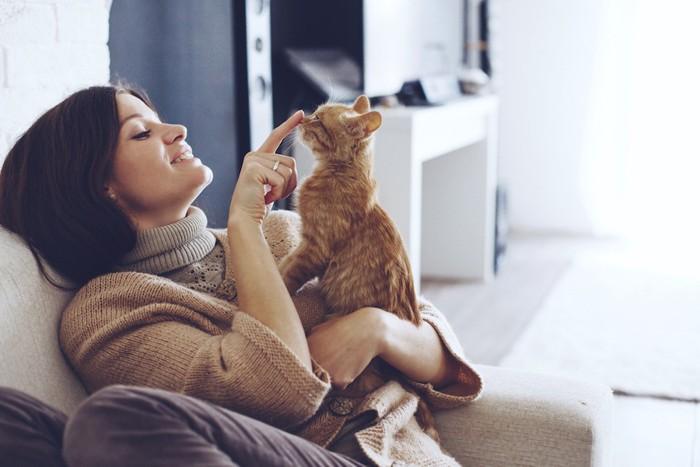 ソファーに座って子猫を抱き上げる女性